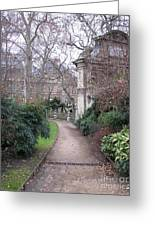 Paris Romantic Parks - Luxembourg Gardens - Medici Fountain Park - Pathway To Luxembourg Gardens Greeting Card by Kathy Fornal