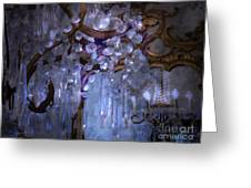 Paris Surreal Haunting Crystal Chandelier Mirrored Reflection - Dreamy Blue Crystal Chandelier  Greeting Card by Kathy Fornal