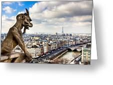 Parisian Gargoyle Admires The Skyline Greeting Card by Mark E Tisdale