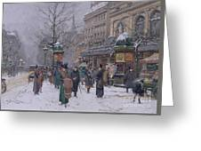 Parisian Street Scene Greeting Card by Eugene Galien-Laloue