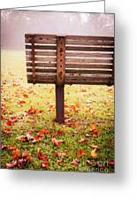 Park Bench In Autumn Greeting Card by Edward Fielding