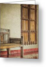Part Of A Bench Greeting Card by Joan Carroll