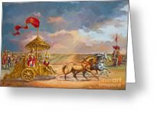 Partha Sarathi  Krishna Speaks The Bhagavad-gita To Arjuna Greeting Card by Dominique Amendola