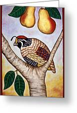 Partridge In A Pear Tree Greeting Card by Linda Mears