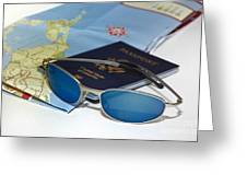 Passport Sunglasses And Map Greeting Card by Amy Cicconi