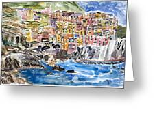 Pastel Patchwork Village Greeting Card by Michael Helfen