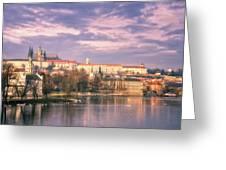 Pastel Prague Morning Greeting Card by Joan Carroll