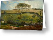 Pasture Near Cherbourg Greeting Card by Jean-Francois Millet