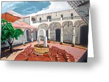 Patio Colonial Greeting Card by Lazaro Hurtado