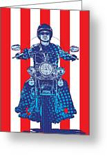 Patriotic Cycle Rider Greeting Card by Gary Grayson