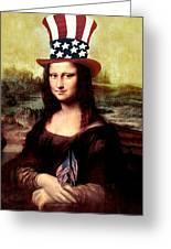 Patriotic Mona Lisa Greeting Card by Gravityx Designs