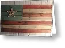 Patriotic Wood Flag Greeting Card by John Turek