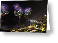 Pattaya Fire Work 2012 Festival Greeting Card by Anek Suwannaphoom