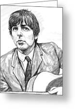 Paul Mccartney Art Drawing Sketch Portrait Greeting Card by Kim Wang