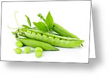 Pea pods and green peas Greeting Card by Elena Elisseeva