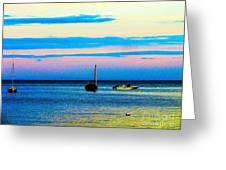 Peaceful Ocean Evening Greeting Card by Annie Zeno