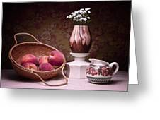 Peaches and Cream Sill Life Greeting Card by Tom Mc Nemar
