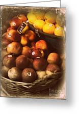Peaches And Lemons - Old Photo - Top Finisher Greeting Card by Miriam Danar