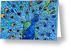Peacock On Blue Greeting Card by Eloise Schneider