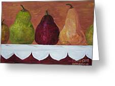 Pears On Parade Greeting Card by Eloise Schneider