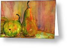 Pears Still Life Art Greeting Card by Blenda Studio
