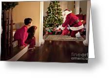 Peeking At Santa Greeting Card by Diane Diederich