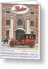 Peerless 1910s Usa Cars Winter Snow Greeting Card by The Advertising Archives