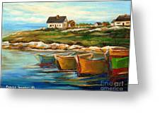 Peggys Cove With Fishing Boats Greeting Card by Carole Spandau