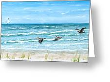 Pelicans On Crescent Beach Greeting Card by Bruce Alan