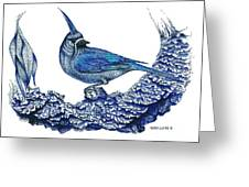 Pen And Ink Drawing Of Small Blue Bird  Greeting Card by Mario Perez