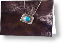 Pendant With Turquoise Greeting Card by Patricia  Tierney