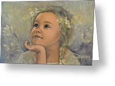 Pensive - Angel 22 Greeting Card by Dorina  Costras