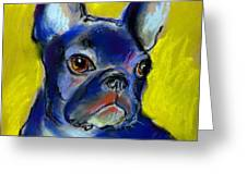 Pensive French Bulldog Portrait Greeting Card by Svetlana Novikova