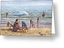 People On Bournemouth Beach Parasol Greeting Card by Martin Davey