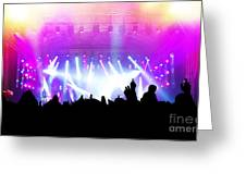 People On Music Concert Disco Party Greeting Card by Michal Bednarek