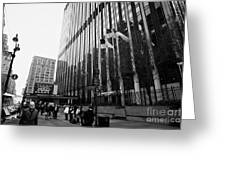 people on the sidewalk outside madison square garden with US flags flying new york city Greeting Card by Joe Fox