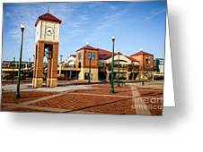 Peoria Illinois Riverfront Businesses And Clock Tower Greeting Card by Paul Velgos