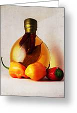 Peppers And Oil Greeting Card by Shawna  Rowe