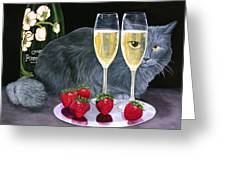 Perrier Jouet Et Le Chat Greeting Card by Karen Zuk Rosenblatt