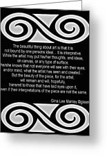 Personal Quotation About Art Greeting Card by Gina Lee Manley