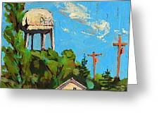 Peru Water Tower On 9th Greeting Card by Charlie Spear