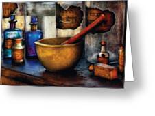 Pharmacist - Mortar And Pestle Greeting Card by Mike Savad