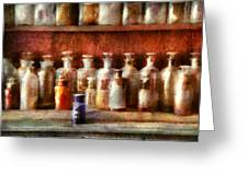 Pharmacy - The Medicine Counter Greeting Card by Mike Savad