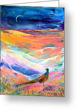 Pheasant Moon Greeting Card by Jane Small
