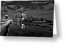 Philadelphia From South Street At Night In Black And White Greeting Card by Bill Cannon