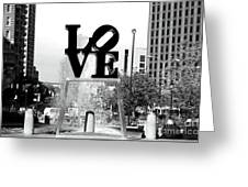 Philadelphia Love Bw Greeting Card by John Rizzuto