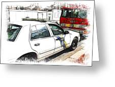 Philadelphia Police Car Greeting Card by Paul and Fe Photography Messenger