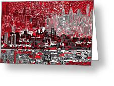 philadelphia skyline abstract 4 Greeting Card by MB Art factory