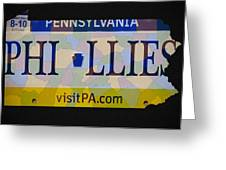 Phillies License Plate Map Greeting Card by Bill Cannon
