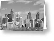 Philly Skyscrapers Black And White Greeting Card by Jennifer Lyon